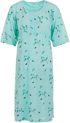 LUCKY Nachthemd Damen Kurzarm Blumen Druck Übergröße 3XL-6XL (Mint, 3XL)