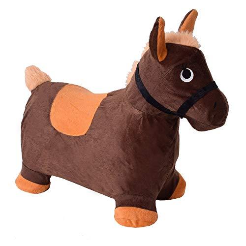 TE-Trend Animal de Brincar Caballo de Brincar Gummipferd Skip Cubierta Kinderhüpfpferd Caballo Horse Niños Bebé 50kg Marrón