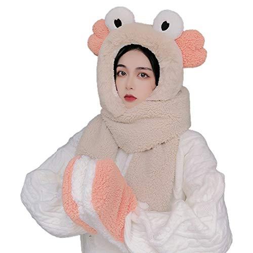 Women Winter Warm 3 in 1 Fuzzy Plush Cartoon Eye Ear Hooded Scarf Hat Gloves Set by Irjdksd
