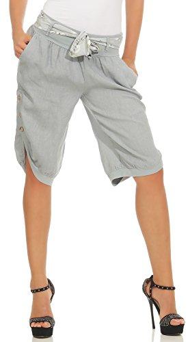 Mississhop 281 Damen Capri 100% Leinen Bermuda lockere Kurze Hose Freizeithose Shorts mit Gürtel und Knöpfen Grau L