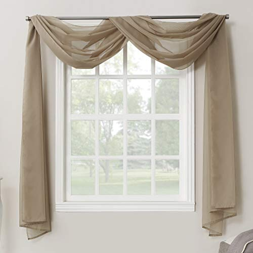 No. 918 53566 Emily Sheer Voile Rod Pocket Curtain Panel, Valance Scarf, Taupe