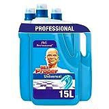 Mastro Lindo Professionale Detersivo Liquido Multiuso Pavimenti, Brezza d'Oceano, 15 L, Maxi Formato da 3 x 5000 ml