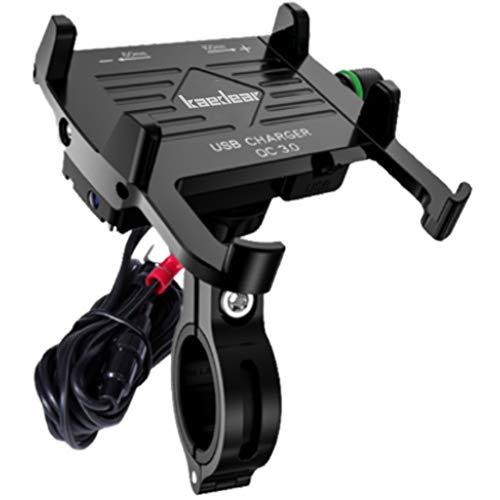 Kaedear(カエディア)【 アルミホールド改 】 バイク スマホ ホルダー 充電 USB 電源 携帯 防水 アルミ 合金 金属 製 ミラー マウント ステー 360度 回転 ジョイント スイッチ 原付 オートバイ 急速 高速 QC3.0 セーフティーバ