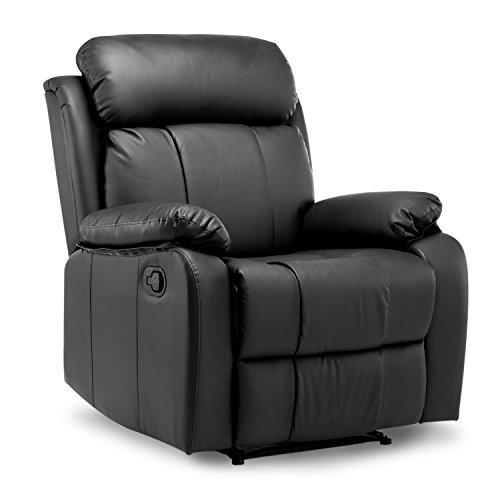 SOSTUDIO Sillón reclinable de piel con respaldo alto para el hogar, salón, juegos, cine, color negro