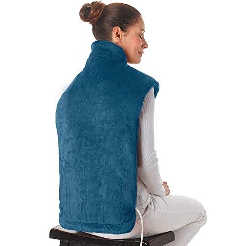 XASY Elektrisch verwarmingskussen voor nek, schouders en rug, pijnverlichting 2 temperaturen, 4 vibratiemassage-instellingen, verwarmingskussens