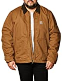 Carhartt Men's Full Swing Loose Fit Washed Duck Fleece-Lined Jacket, Brown, X-Large