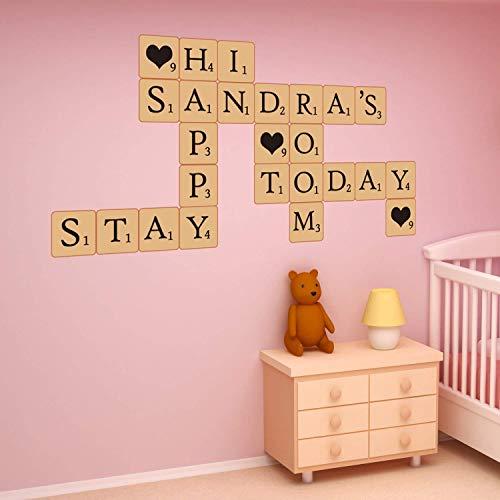 Extraíble pegatinas de pared autoadhesivas Scrabble Puzzle Letras Arte Mural Adhesivos Vinilo decoración del hogar papel pintado habitación de los niños regalo 59x 50cm, multicolor