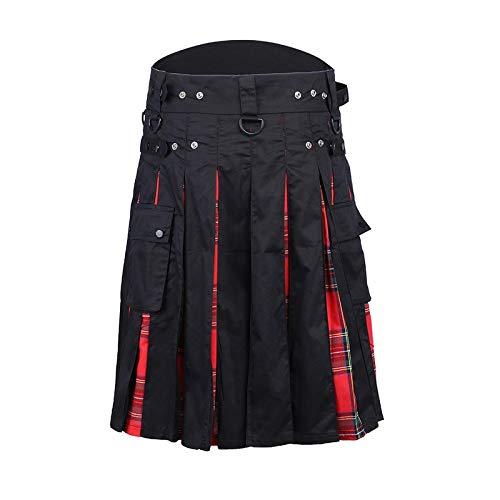 Astemdhj Falda Escocesa Scottish Skirt Faldas Escocesas Plisadas Casuales para Hombre, Pantalones De Moda, Pantalones con Personalidad De Carga, Patrón De Cuadros, Medias Faldas S