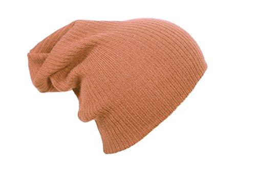 4sold (TM) Bonnet long tombant style bonnet Beanie Beany signé 4sold, femme, Plain Cap, light brown stripe, taille unique