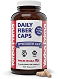 Yerba Prima Daily Fiber Caps Formula, 400 Capsules - Both Soluble and Insoluble - with Psyllium Seed Husks, Acacia Gum, Apple Fiber and More