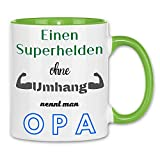 Print Dynastie Taza A superhero without a cape is called a grandpa superhéroe regalo del abuelo, Color:White Light Green
