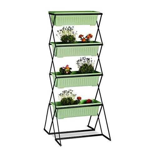 relaxdays Huerto Vertical Plegable con 4 Jardineras, Soporte Plantas, Interior o Exterior, Acero-Plástico, 126 cm, Negro, 57.5x50.5x126 cm