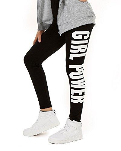 AlexFashion Baumwolle Sport Leggings für Mädchen Girl Power Boyfriendhose Hose Legings Jogging Gr. 116-158 (158, Schwarz)