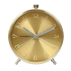 Cloudnola Glam Metal Alarm Clock Gold, 4.3 inch Diameter, Battery Operated Quartz Movement, Silent Non Ticking …