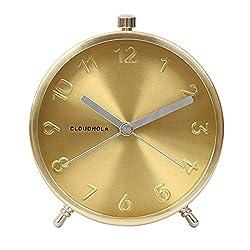 Cloudnola Glam Metal Alarm Clock Gold, 4.3 inch Diameter, Battery Operated Quartz Movement, Silent Non Ticking …
