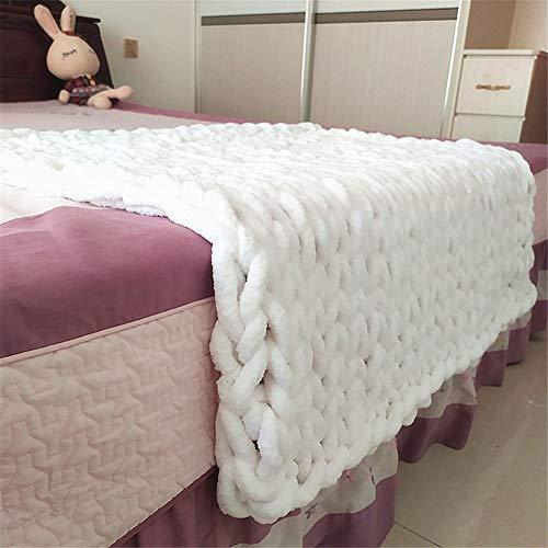 Martin Kench Gestrickte Decke, Grob Gestrickte Kuscheldecke Wolldecke Strickdecke Tagesdecke Überwurf Decke Tagesdecke für Sofa Zuhause Deko Geschenk (Weiß,100 x 120 cm)