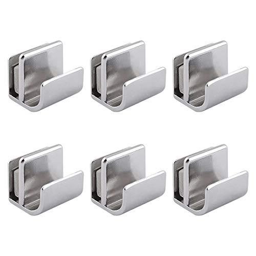 INCREWAY Tirador de puerta de cristal, 6 piezas de manija de puerta de acero inoxidable, sin perforación, pinzas para puertas, tiradores de tiradores para puertas de vidrio de 3 a 5 mm