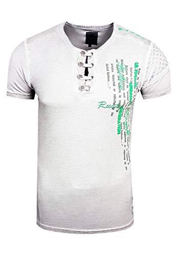 T-Shirt Rundhals Oil Wash Herren Kurzarm Shirt Verwaschen Stretch S - XXL 6784, Größe:2XL, Farbe:Grau