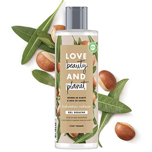 Love Beauty & Planet Gel Douche Femme Hydratation Radieuse, Beurre de Karité et Huile de Bois de Santal, Certifié Vegan, 92% d'ingrédients d'origine naturelle (Flacon de 400ml)