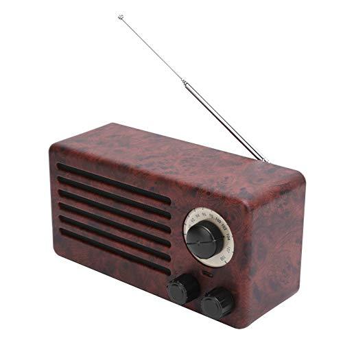 PUSOKEI Altavoz Retro de Graves con Bluetooth, Mini subwoofer estéreo, Compatible con reproducción AUX USB y Llamada Manos Libres(Patrón de Madera de durazno)