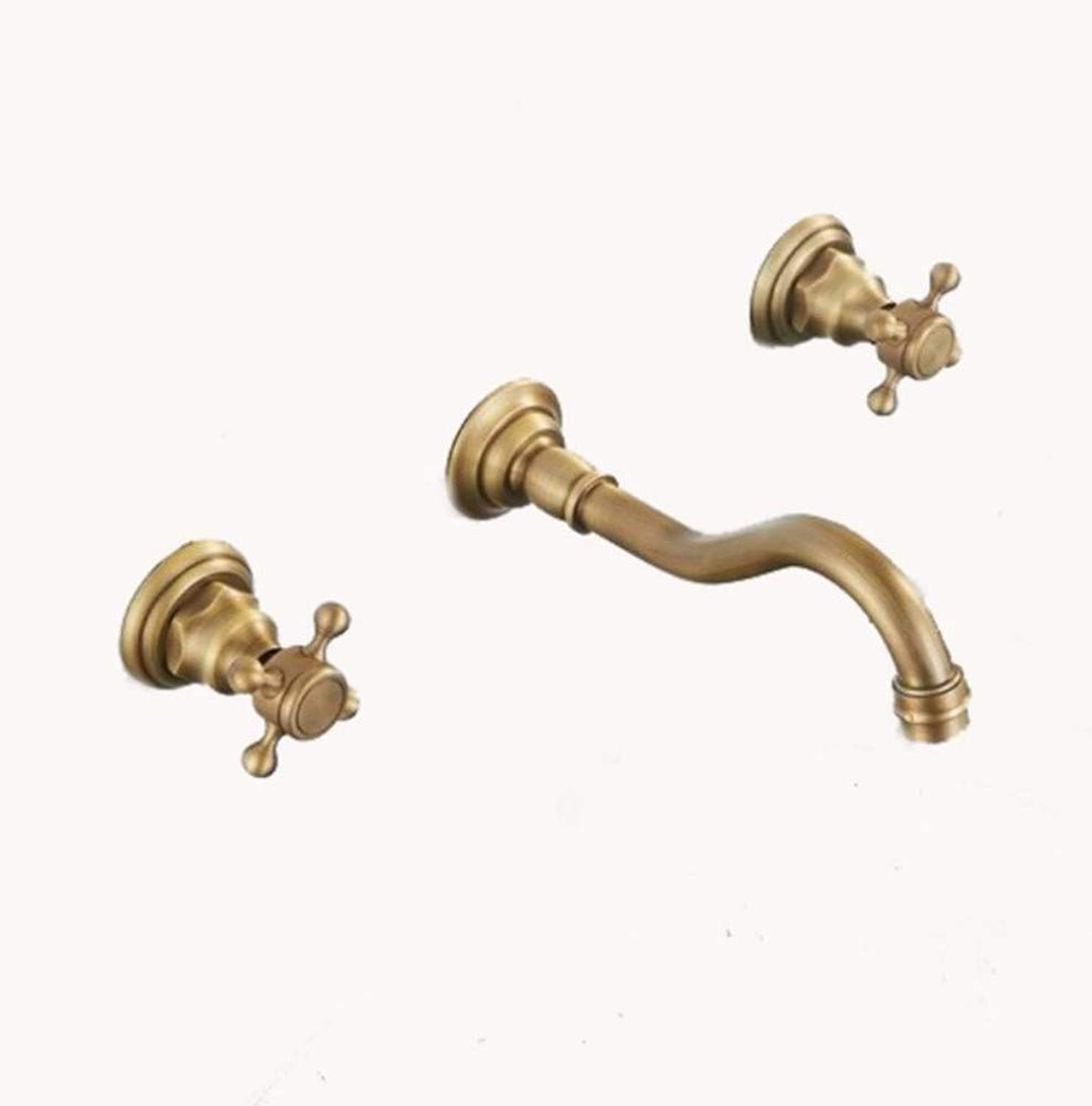 Bathroom Sink Basin Lever Mixer Tap Hydraulic Hardware European-Style Ancient-Style Three-Hole Three-Piece Set Separate Facebasin Faucet