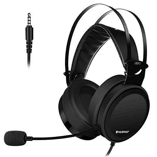 LRWEY Overhead-Kopfhörer`, N7 Gaming Headset Stereo PC Gaming Headset mit Headset mit Geräuschunterdrückung, für PS4 Game PC, iPhone, iPad, Samsung, Huawei,Tablet usw. (Schwarz)