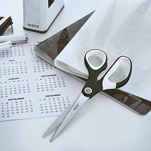 Leitz titanium schaar, voor rechts- en linkshandigen, 6,7 x 1,5 x 15 cm, kantoormateriaal, ergonomische greep, WOW, zwart
