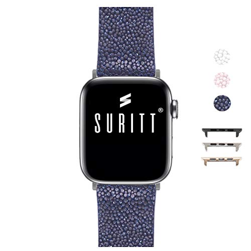 Correa para Apple Watch de Piel New Wonder (3 Colores Disponibles). 3 Colores de Hebilla y Adaptador para Elegir (Negro - Plata - Oro)(Series 1, 2, 3, 4 y 5). (42mm - 44mm, Midnight Blue/Silver)
