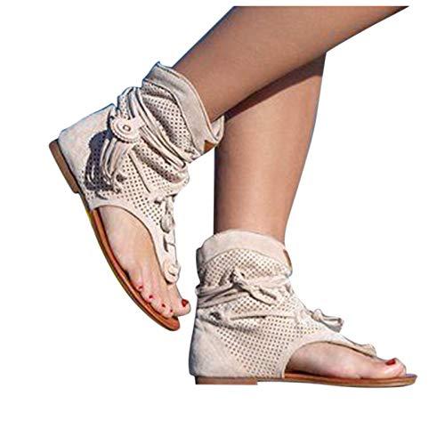CHENtian1 Sandales Femme Mode Sandales Plates 2021 Newest Été Sandales Femmes Sandales Plates Toe T-Sangle Comfy Semi Trailer Sandales Chaussures de Plage Décontractées à Bride à la Cheville Femmes
