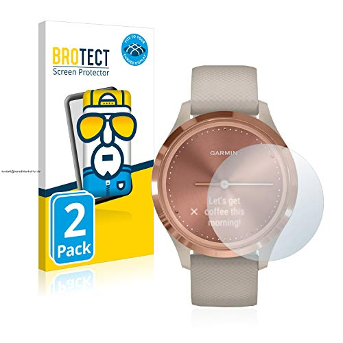 BROTECT Full-Cover Schutzfolie kompatibel mit Garmin vivomove 3S (39 mm) (2 Stück) - Full-Screen Bildschirmschutz-Folie, 3D Curved, Kristall-Klar
