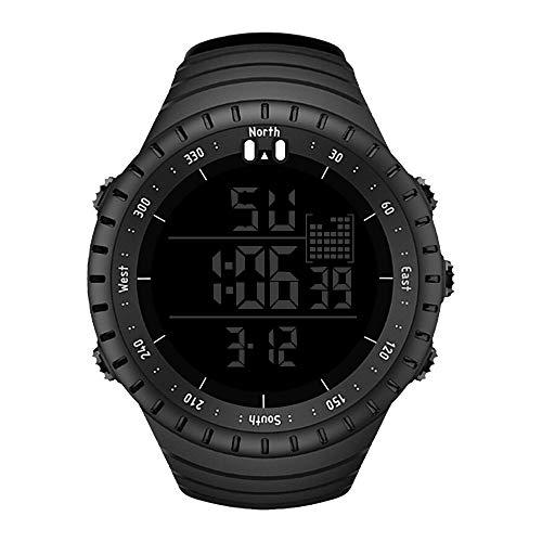 WANGJIA Waterdichte mannen buiten Sport Horloge Lichtgevende Wekker Horloges Luxe Zwart