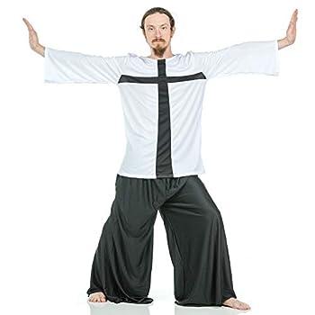 Danzcue Praise Cross Mens Inspired Tunic White-Black S-M-Adult