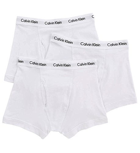 Calvin Klein Underwear Men's Cotton Stretch 3 Pack Low Rise Trunks, White, Medium
