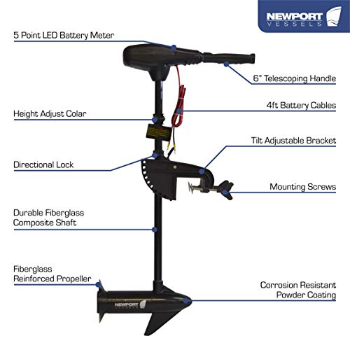 Newport Vessels NV-Series 36lb Thrust Saltwater Transom Mounted Trolling Electric Trolling Motor w/LED Battery Indicator & 30 Shaft