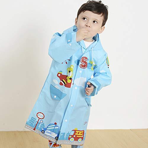 CKH blauw auto kinderen regenjas kleuterschool basisschool milieuvriendelijk Eva reukloos jongens met regenjas poncho Small