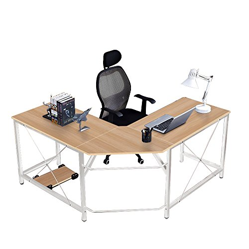 SogesHome Corner Desk Escritorio en Forma de L para computadora L (150 + 150) * W55 * H76 cm Escritorio Grande para Escritorio de Oficina, LD-Z01-MO-SH