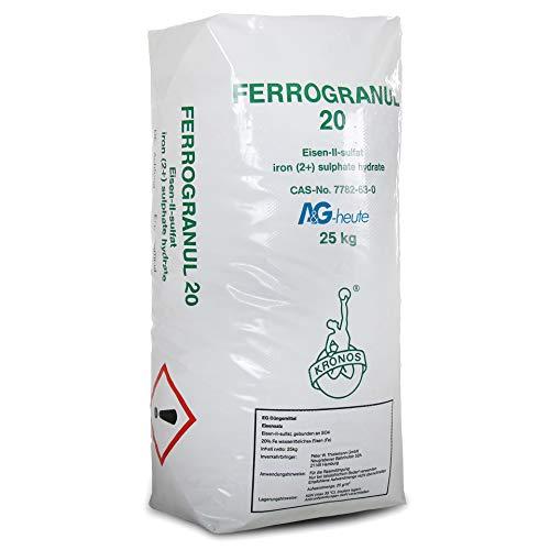 A&G-heute 25kg Eisendünger Rasendünger Ferrogranul 20 Eisen-2-Sulfat für ca. 1000m² Rasenfläche für sattes Grün