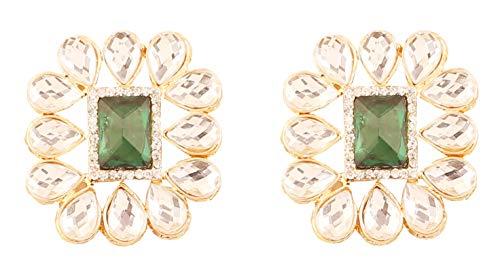 Touchstone Desire Royal Mughal klassieke stijl kundan look faux smaragd sieraden oorbellen voor dames goudkleur