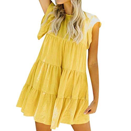 HODOD Summer Women's Ladies Plaid Printing O-Neck Short Sleeve Mini Dress (Z-Yellow, S)