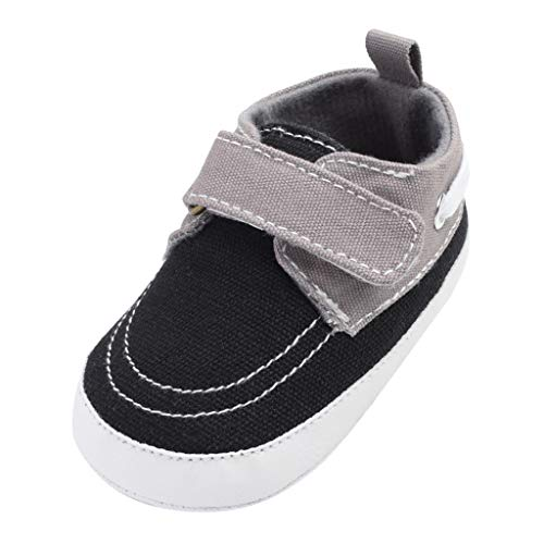Voberry Infant Baby Boys Girls Canvas Shoes Slip On Soft Sole Moccasins Toddler First Walker Sneaker Newborn Crib Shoes Black