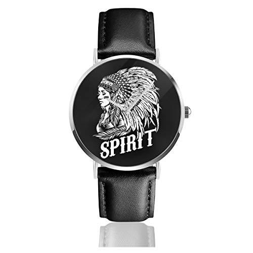 Unisex Business Casual Spirit Indianer-Uhren Quarzuhr Lederarmband schwarz für Männer Frauen Young Collection Geschenk