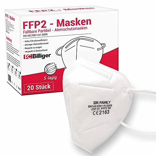 20 Stück FFP2 Masken Mundschutz 5-lagig CE Zertifiziert mit versteckten Nasenbügel hygienisch verpackt