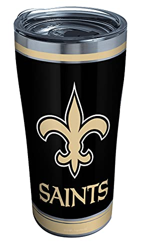 Tervis NFL New Orleans Saints - Touchdown Stainless Steel Insulated Tumbler with Clear and Black Hammer Lid, 20 oz, Silver