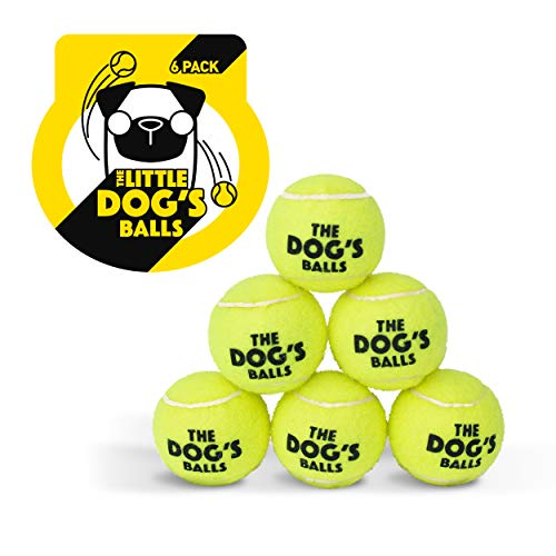 The Little Dog's Balls, Dog Tennis Balls, 6-Pack Yellow Dog Toy, Premium Strong Dog & Puppy Ball for Training, Play, Exercise and Fetch