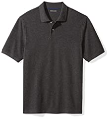 This regular-fit short-sleeve polo is made with a comfortable, cotton pique fabric, a double-button placket, and ribbed cuffs for a classic look that make this polo a go-to for the office or the weekend Regular fit through the chest for a relaxed, un...