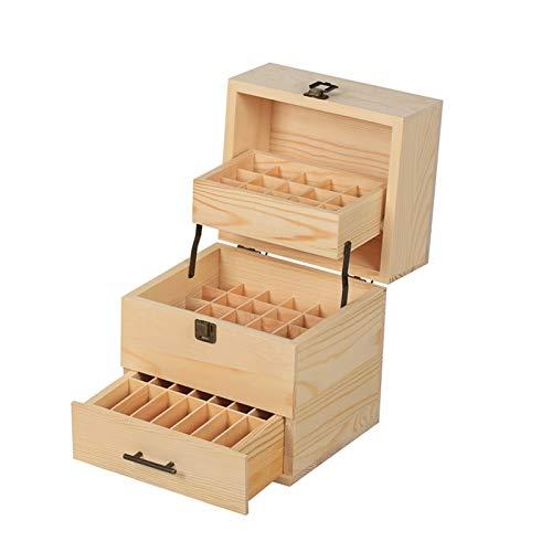 Almacenamiento de aceite esencial caja de caja de la caja de almacenaje de múltiples bandejas de almacenamiento de gran 59 rejilla espacio 3 nivel caja de almacenamiento caja de madera de verano (21,5