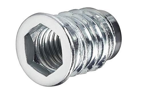 100 X Mprofi MT® Einschraubmuffen aus verzinktem Stahl mit Innensechskant Eindrehmuffe mit Abdeckrand M8x15mm M/M8x15/100