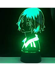 3D sovrum nattlampa LED anime lampa akryl bordslampa, 16 färger byter fjärrkontroll beröringskontroll, sovrumsdekoration barn födelsedagspresent