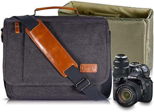 Estarer Camera Shoulder Bag for SLR/DSLR Digital Cameras 14inch Laptop Canvas Messenger Bag with Camera Insert Sleeve