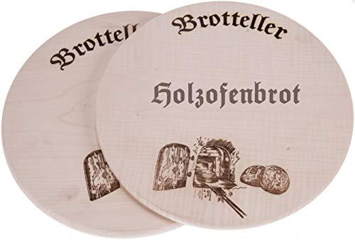 Sannys Brotzeitteller aus Holz Ø 35 cm, Holzteller mit Motiv Brot und Backofen Gravurfähig (Mit Gravur)